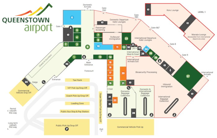 Queestown Airport Map