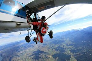 Bree skydiving in Abel Tasman