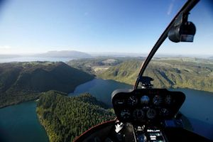 Heli-flight over Lake Taupo
